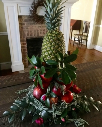 holiday apple and pineapple centerpiece