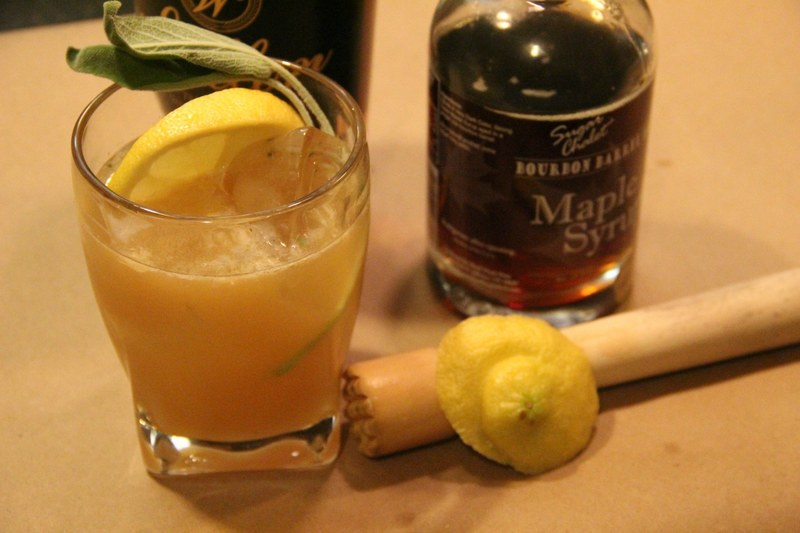 Maple Bourbon Smash Cocktail