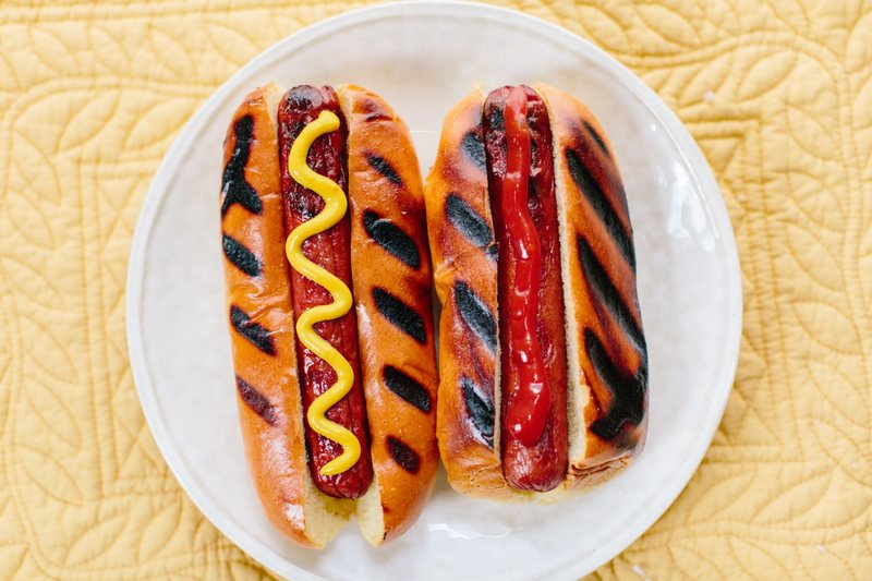 hot dogs with homemade ketchup and mustard