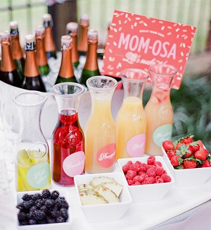 """Momosa"" mimosa bar for Mother's Day brunch or baby shower"