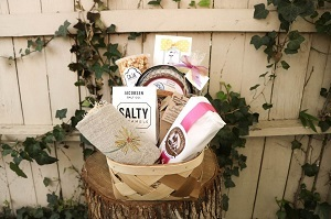 Gift basket filled with local goods