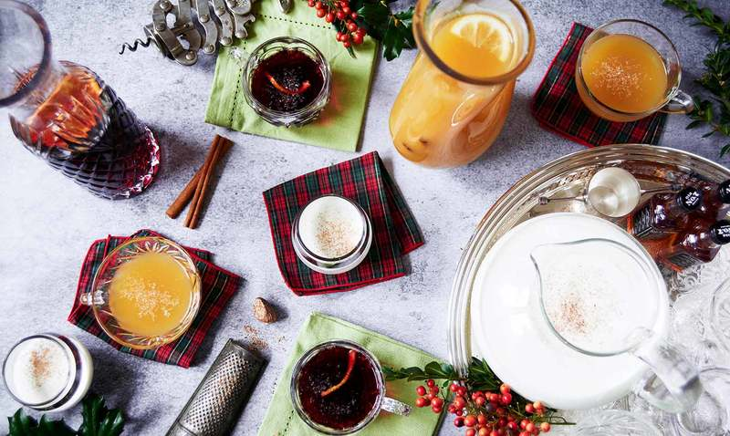 holiday eggnog and mulled wine