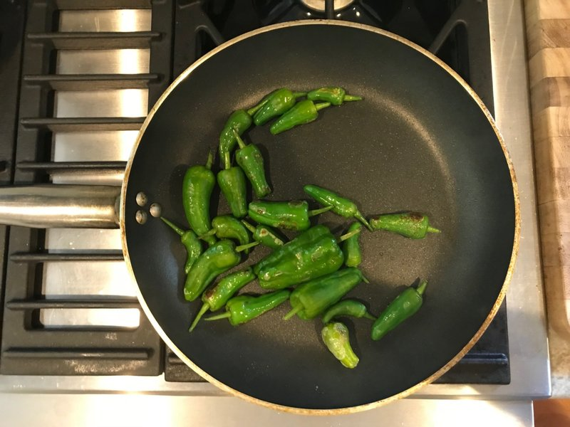 home-grown padron peppers in ballarini nonstick skillet