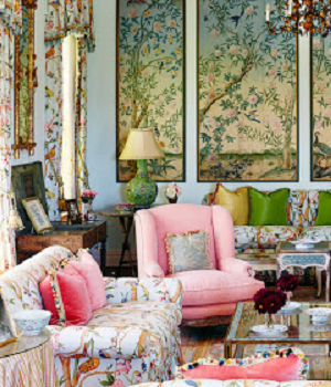 Chinoiserie chic interior design style living room