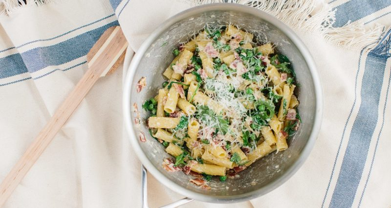 rigatoni and peas