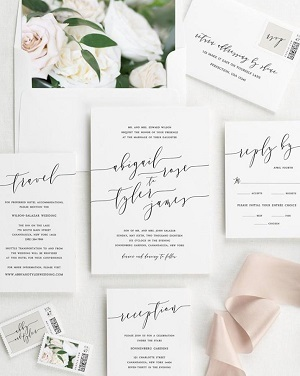 Formal wedding invitation suite
