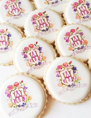 Cookies for bridal shower with monogram
