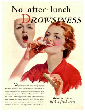 no drowsiness vintage coca cola ad