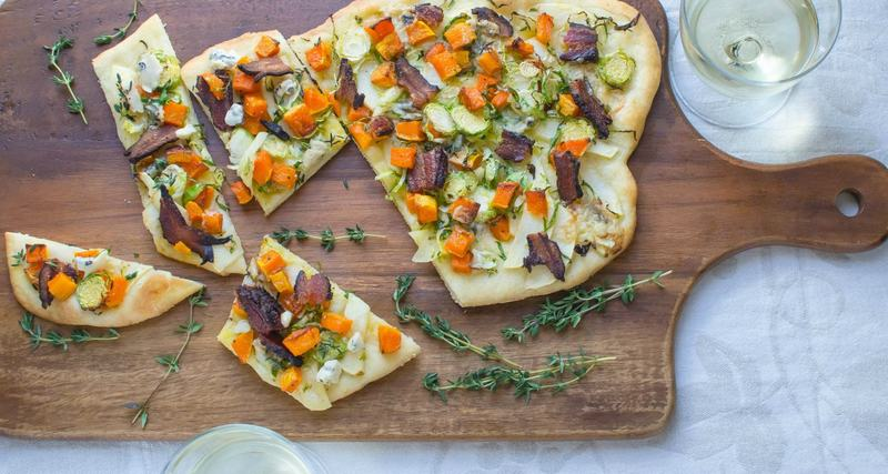 bacon butternut blue cheese flatbread
