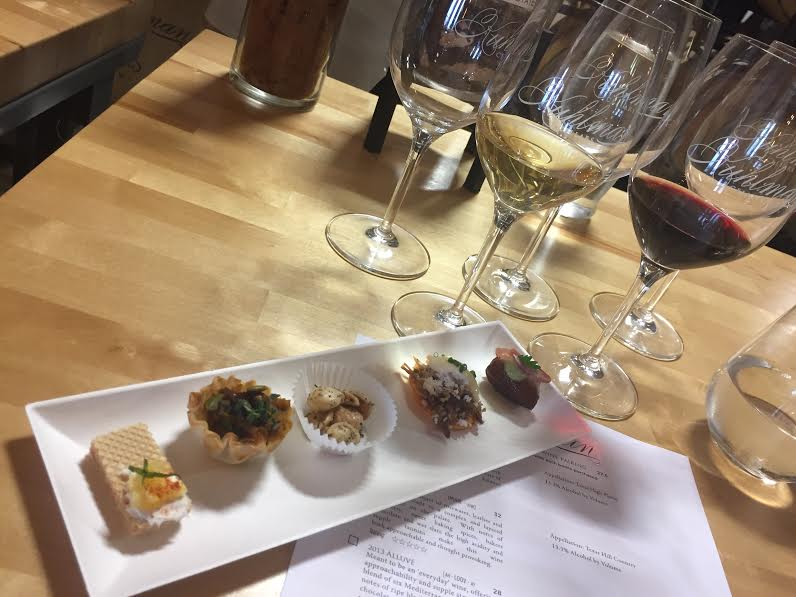 wine glasses with food