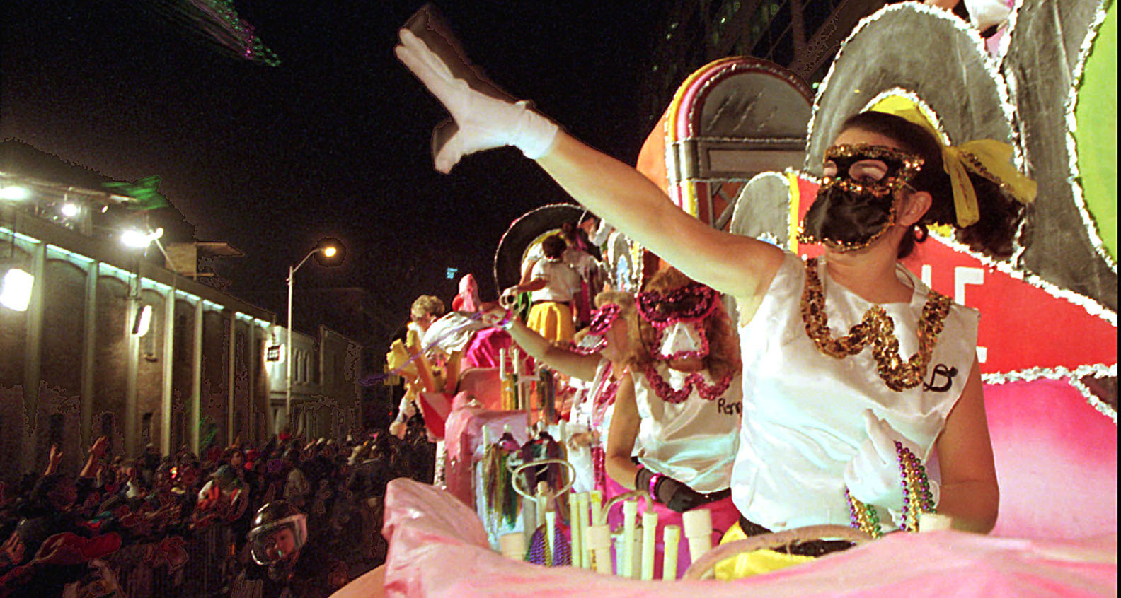 Mardi Gras parade at night