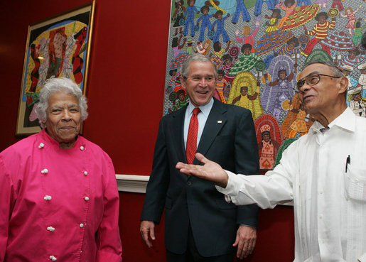 "Leah and ""Dooky"" with President Bush at Dooky Chase's Restaurant in New Orleans; April 22, 2008"