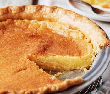 A freshly sliced buttermilk pie