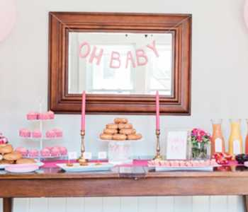 Sip and See party decorations and mimosa bar