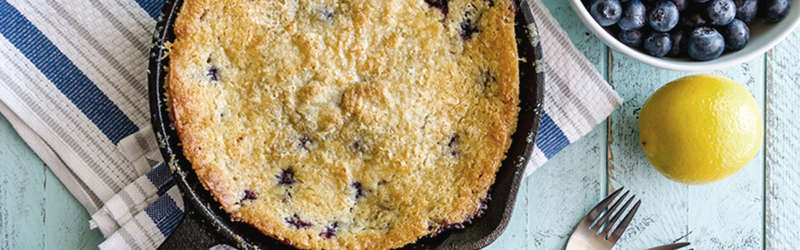 Blueberry pie in cast iron skillet