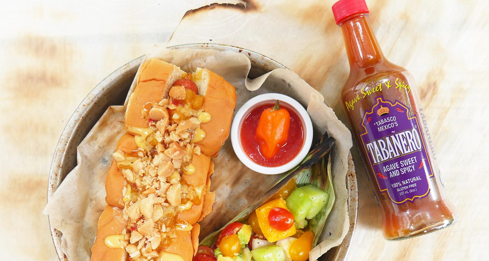 Southern hot sauce florida tabanero hawaiian style hot dog