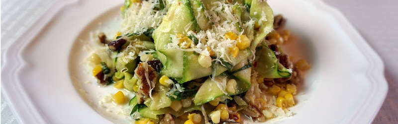 Zucchini salad and corn