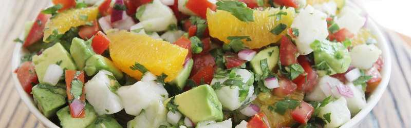 Yucatan style ceviche with avocado