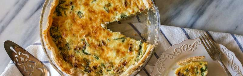 Butternut squash and spinach quiche