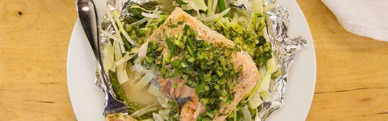 Salmon and veggies in foil packet with tarragon vinaigrette hero size credit maura friedman