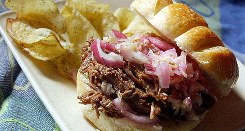 Beer-braised Barbecued Beef With Cider Slaw