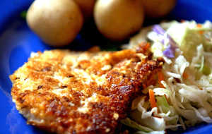Crispy Rye and Mustard Pork Chops With Quick-Fried Cabbage