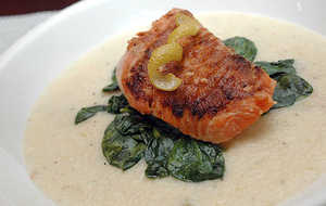 Barbecued Salmon With Sauteed Spinach Over Jalapeno Cheese Grits