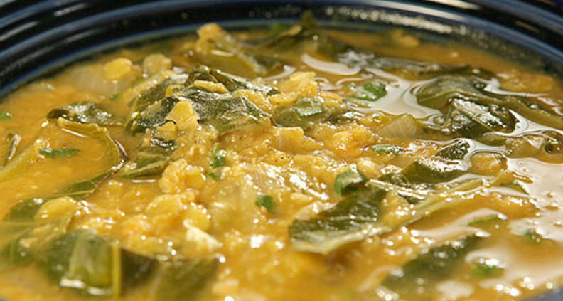 Red Lentil and Green Collard Soup