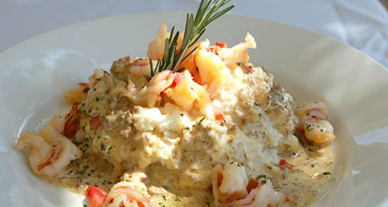 Shrimp With Tasso Cream Over Stone-Ground Grits
