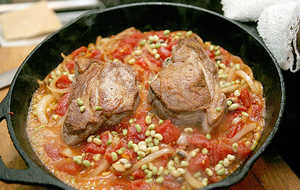Pan-roasted Pork Chops With Lady Peas and Tomatoes