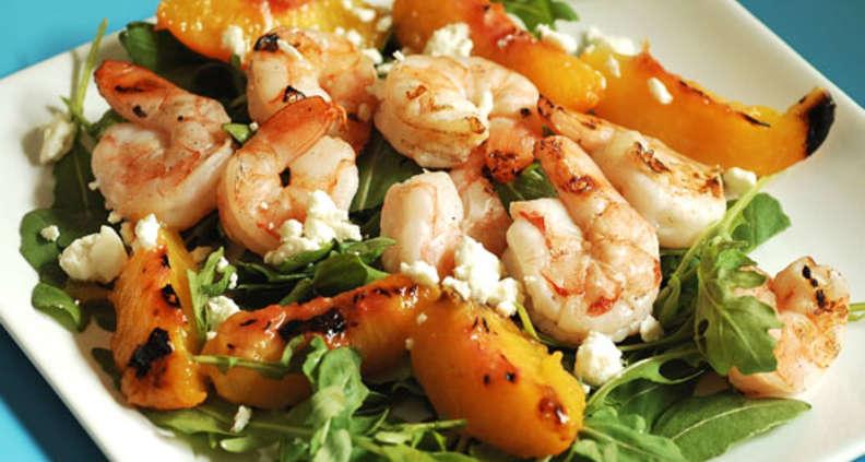 Shrimp peach salad 01