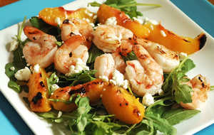 Grilled Shrimp and Peach Salad