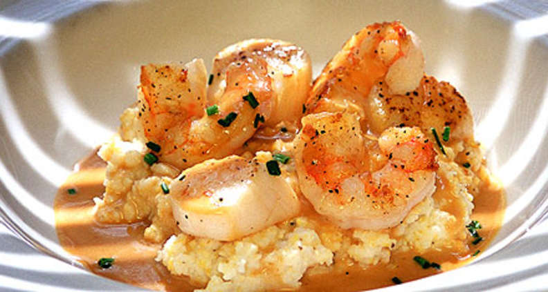 Shrimp and Scallops in Garlic Gravy Over Stone-Ground Grits
