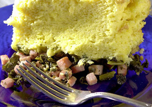 Spoon Bread, Garlic Greens and Smoked Ham