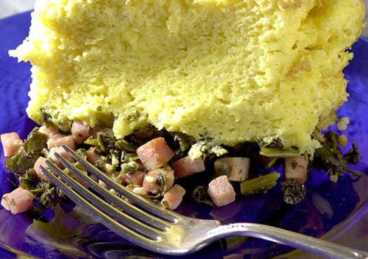 Spoon Bread, Garlic Greens and Smoked Ham