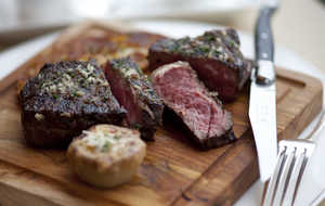 Rib eye steak cast iron seared grilled beef grill