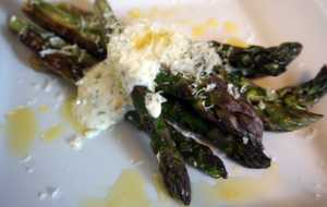 Cast Iron Seared Asparagus with Lemon Tarragon Mayonnaise