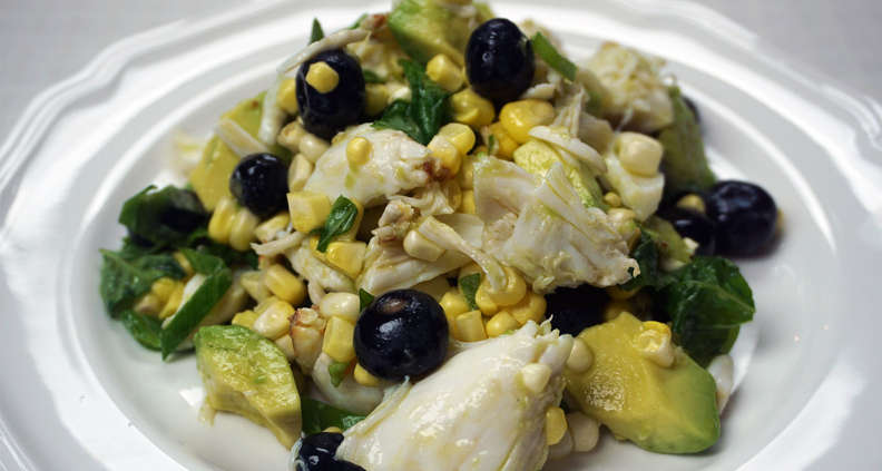 Grilled Corn Salad with Crab and Blueberries