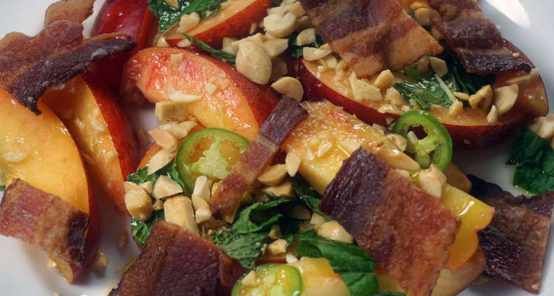 Spicy Peach and Bacon Salad