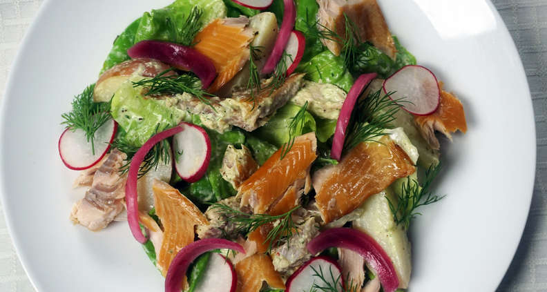 Smoked Trout Salad with Green Goddess Dressing