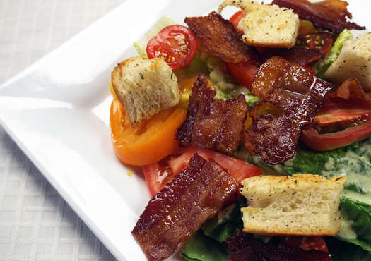 Heirloom Tomato BLT Salad with Green Goddess Dressing