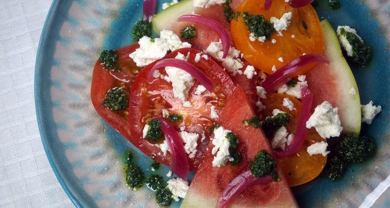 Heirloom Tomato and Watermelon Salad with Basil Vinaigrette