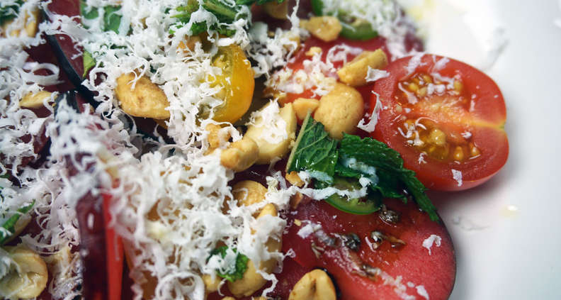 Plum and Tomato Salad with Ricotta