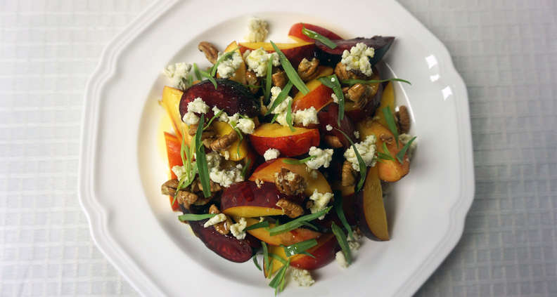 Summer Stone Fruit Salad with Blue Cheese and Pecans
