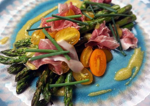Asparagus  country ham  tomatoes by lauren