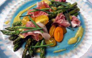 Grilled Asparagus with Country Ham and Mustard Vinaigrette