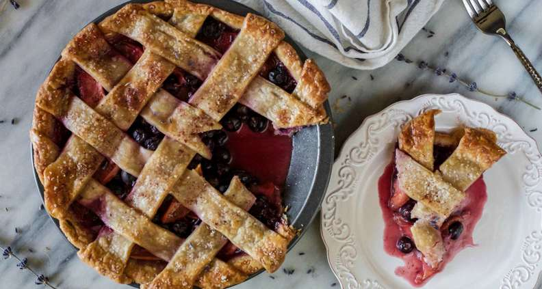 Blueberry Lavender Peach Pie