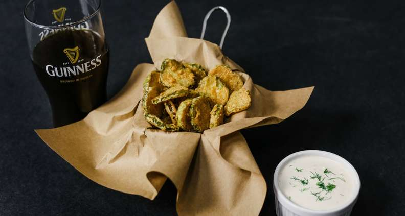 Fried Dill Pickles with Buttermilk Ranch Dressing