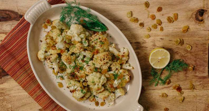 Roasted Cauliflower with Raisins and Dill
