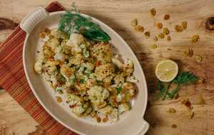 Roasted Cauliflower with Raisins and Dill